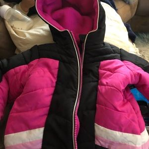 Pink and black winter coat